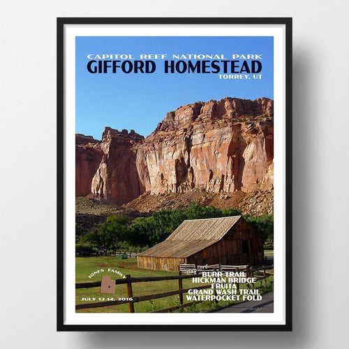 Capitol Reef National Park Poster-Gifford Homestead (Personalized)