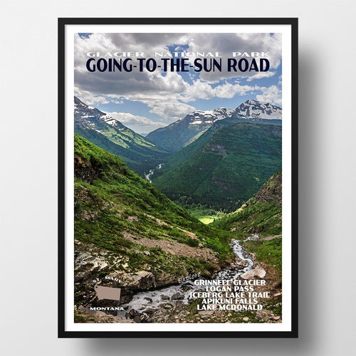 Glacier National Park Poster-Going-to-the-Sun Road