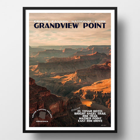 Grand Canyon National Park Poster-Grandview Point