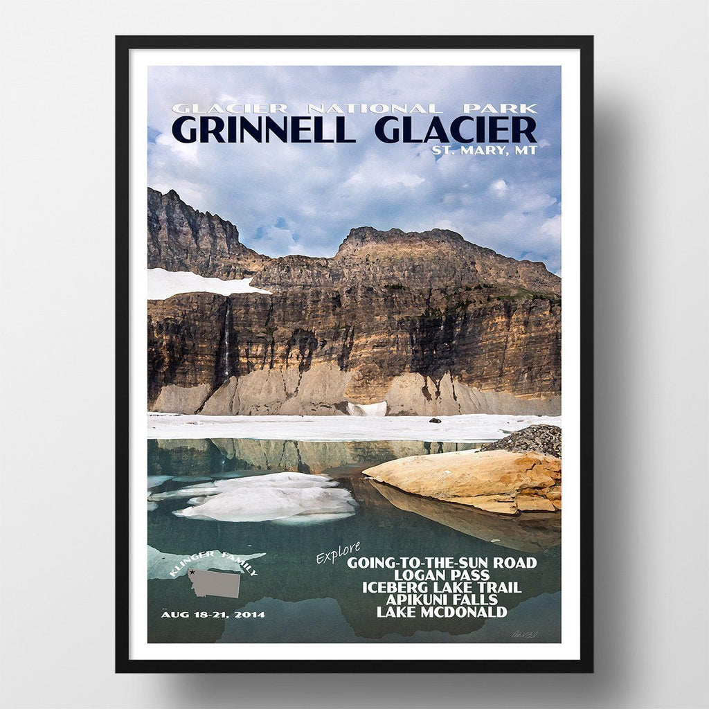 Glacier National Park Poster-Grinnell Glacier (Personalized)