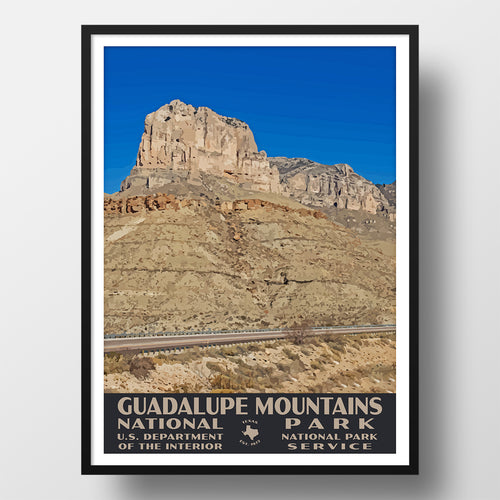 Guadalupe Mountains National Park poster wpa style