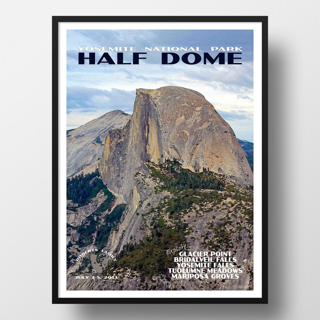 Yosemite National Park Travel Poster Half Dome: Yosemite National Park Poster-Half Dome (Personalized
