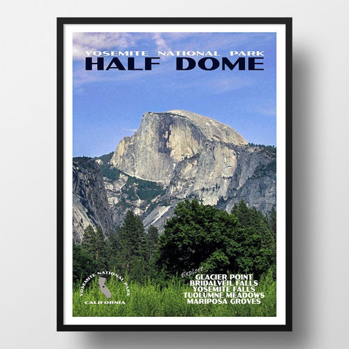 Yosemite National Park Poster-Half Dome with Blue Sky