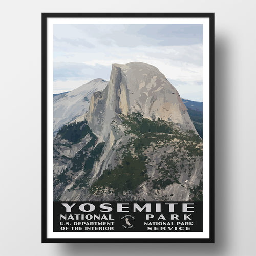 Yosemite National Park Poster, WPA Style, Half Dome