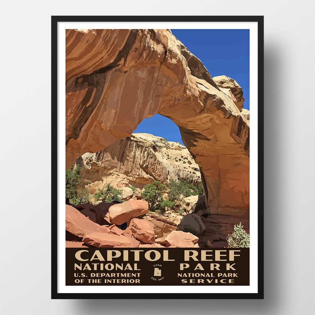 capitol reef national park poster wpa hickman bridge