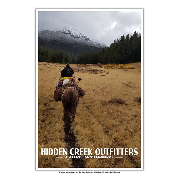 Hidden Creek Outfitters, Cody Wyoming custom travel poster