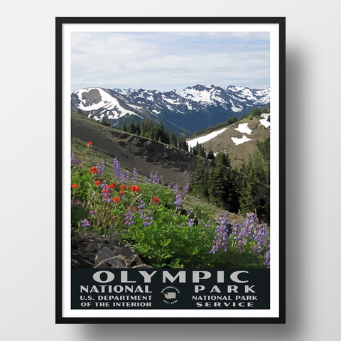 Olympic National Park poster wpa style hurricane ridge