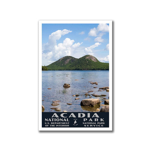 Acadia National Park Poster of Jordan Pond (WPA Style)