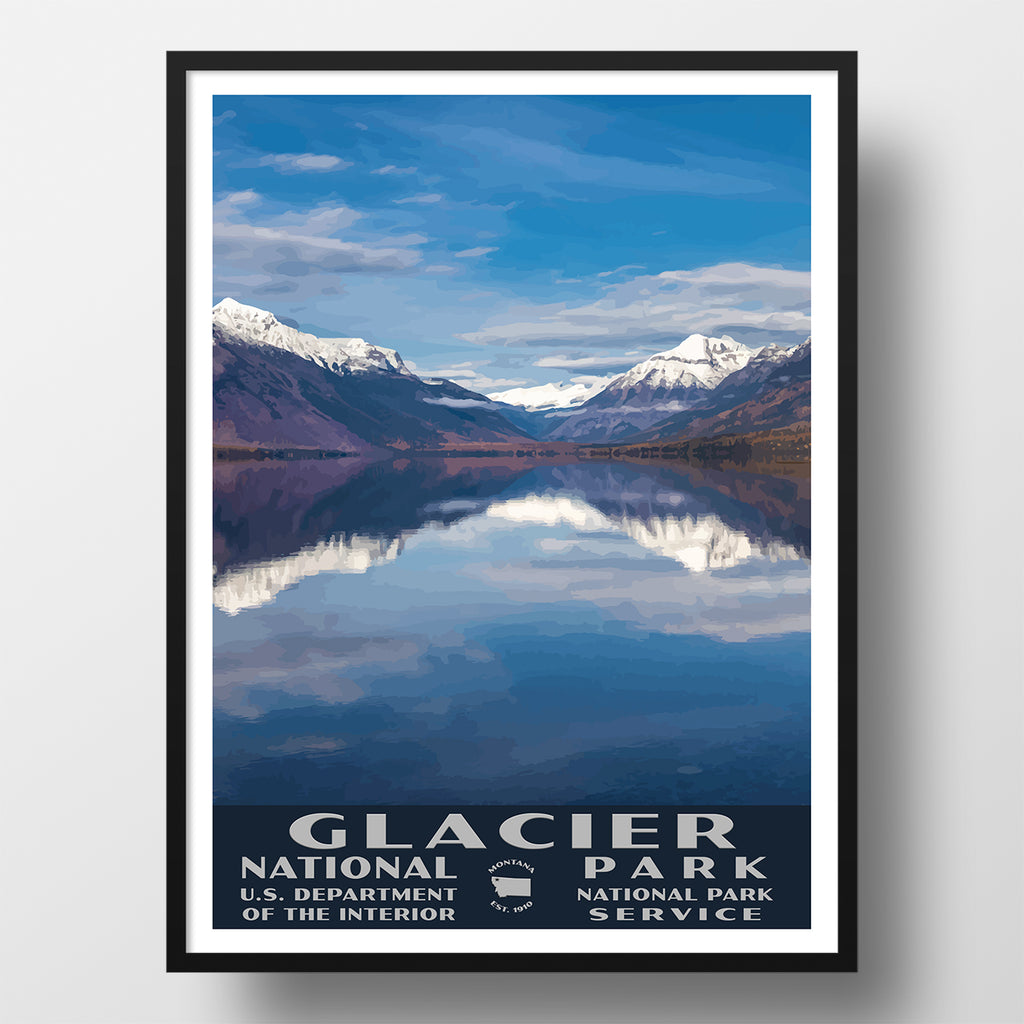 glacier national park poster lake mcdonald