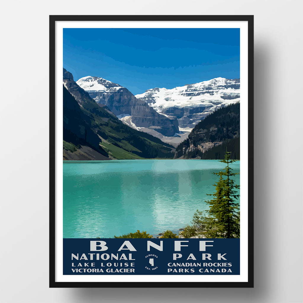 Banff national park poster (lake louise) wpa style