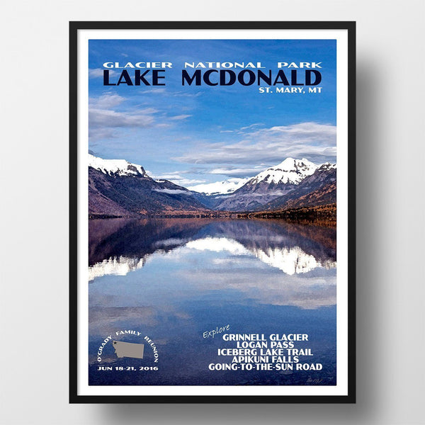 Glacier National Park Poster-Lake McDonald (Personalized)
