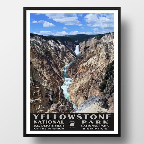 Yellowstone National Park Poster, WPA stye, Yellowstone Falls