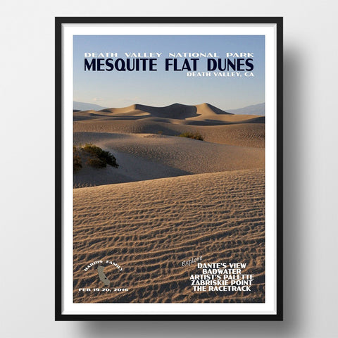 Death Valley National Park Poster-Mesquite Sand Dunes (Personalized)