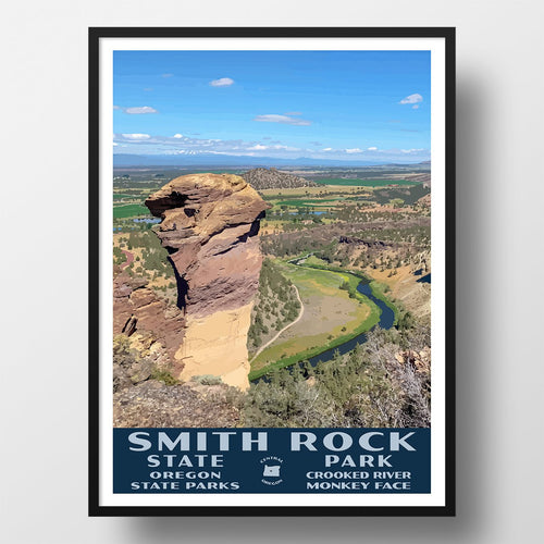 Smith Rock State Park Poster-WPA (Monkey Face)