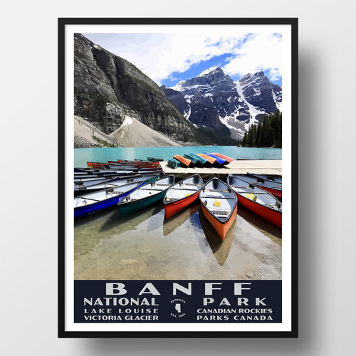 Banff National Park Poster Moraine Lake Canoes