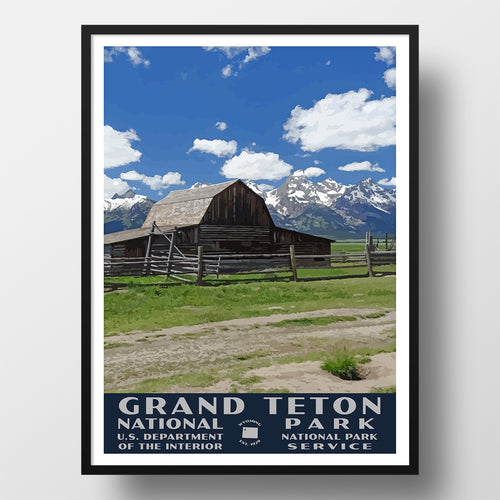 Grand Teton National Park Poster (WPA), Moulton Barn