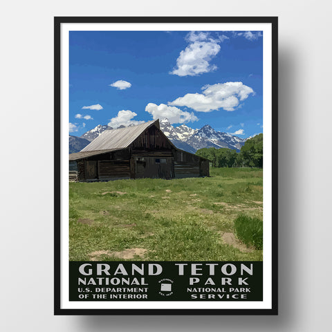 Grand Teton National Park Poster (WPA), Mormon Row