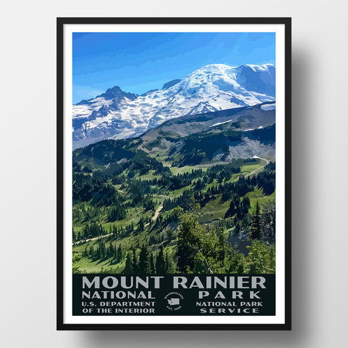 Mount Rainier National Park Poster Sunrise Rim Trail