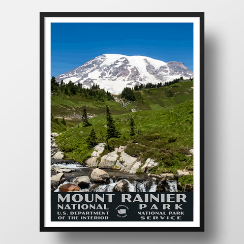 mount rainier national park poster wpa style