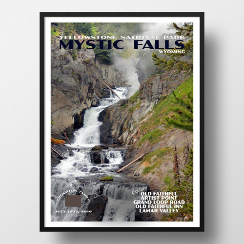 Yellowstone National Park Poster-Mystic Falls (Personalized)