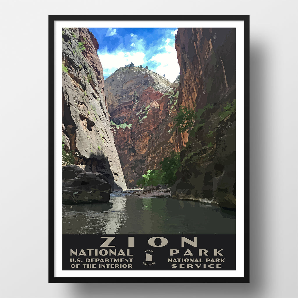 Zion National Park Poster of the Narrows (WPA Style)