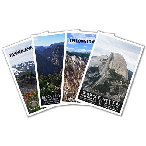 Postcard selection, set of 4 national parks