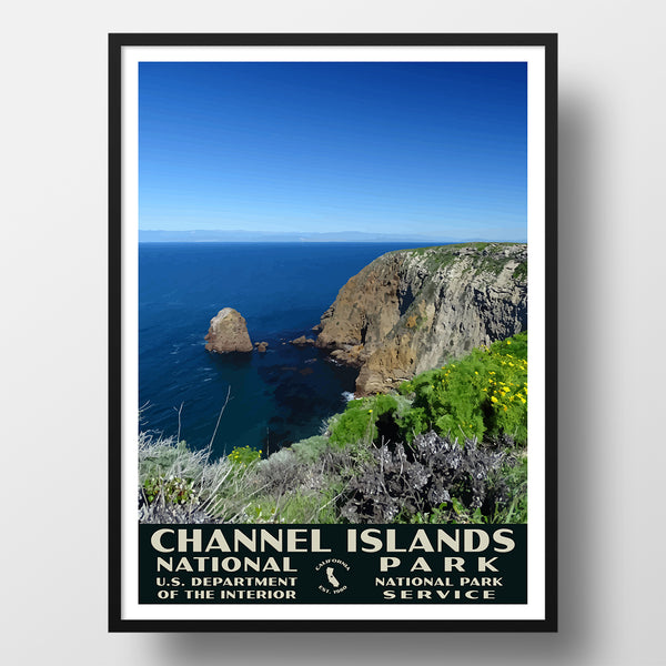 Channel Islands National Park Poster, WPA style, north bluff trail