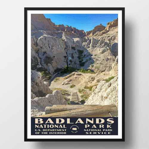 Badlands National Park WPA Poster, Notch Trail