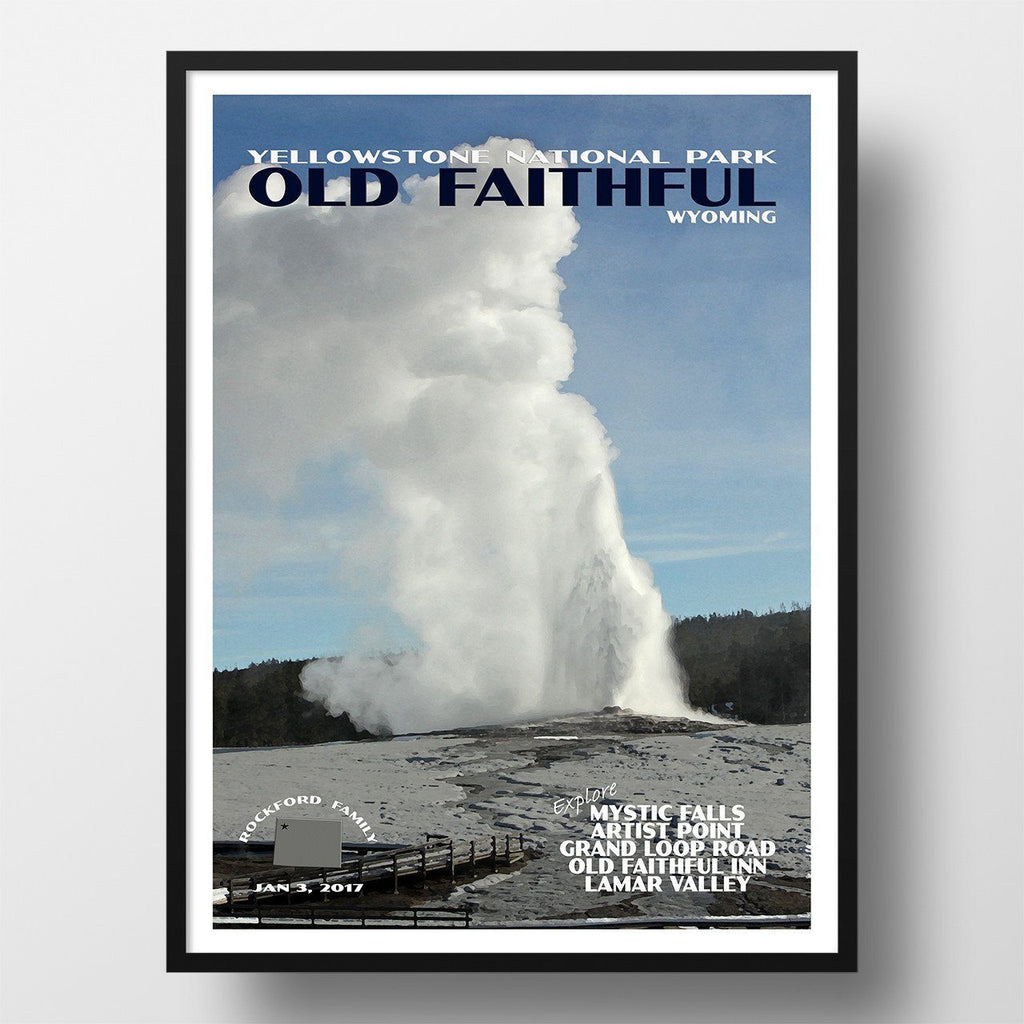 Yellowstone National Park Poster-Old Faithful (Personalized)