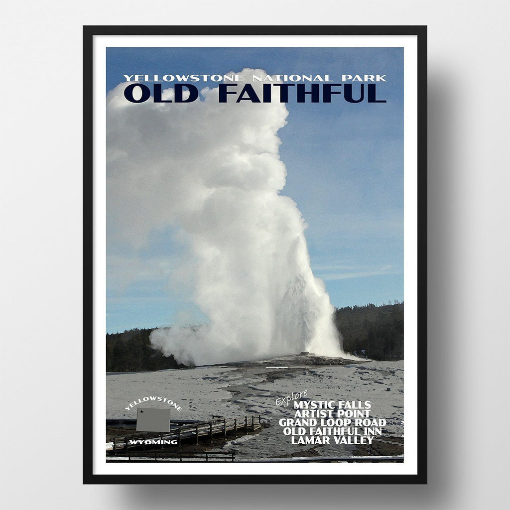 Yellowstone National Park Poster Old Faithful Just Go Travel Studios
