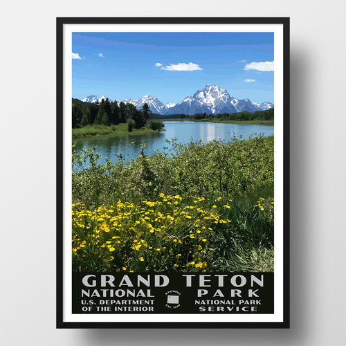 Grand Teton National Park Poster, WPA Style, Oxbow Bend