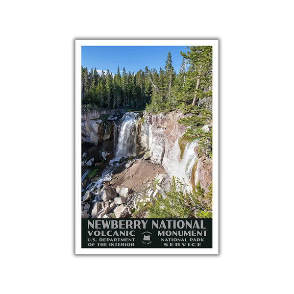 Newberry National Volcanic Monument Poster (WPA Style), Paulina Falls