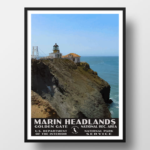 point bonita lighthouse marin headlands poster wpa style
