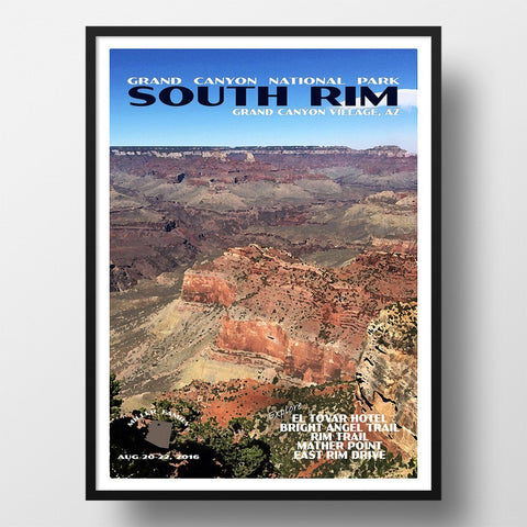 Grand Canyon National Park Poster-South Rim (Personalized)