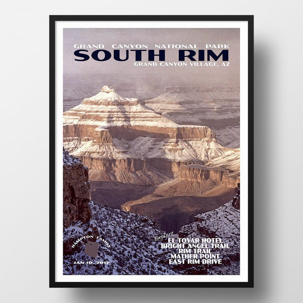 Grand Canyon National Park Poster-South Rim in the Snow (Personalized)