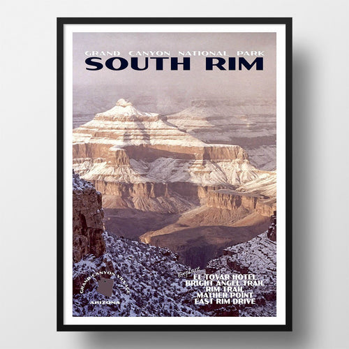 Grand Canyon National Park Poster-South Rim in the Snow