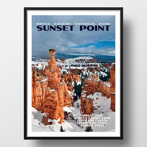 Bryce Canyon National Park Poster-Sunset Point in Winter