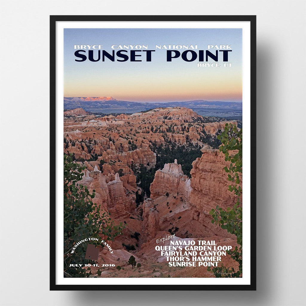 Bryce Canyon National Park Poster-Sunset Point (Personalized)