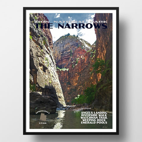 Zion National Park Poster-The Narrows