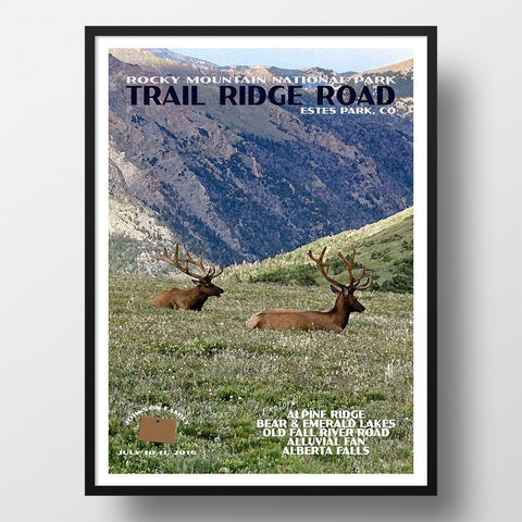 Rocky Mountain National Park Poster-Trail Ridge Road (Personalized)