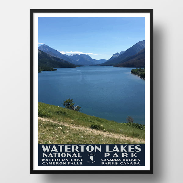 Waterton Lakes National Park Poster, WPA Style (Lake Waterton)