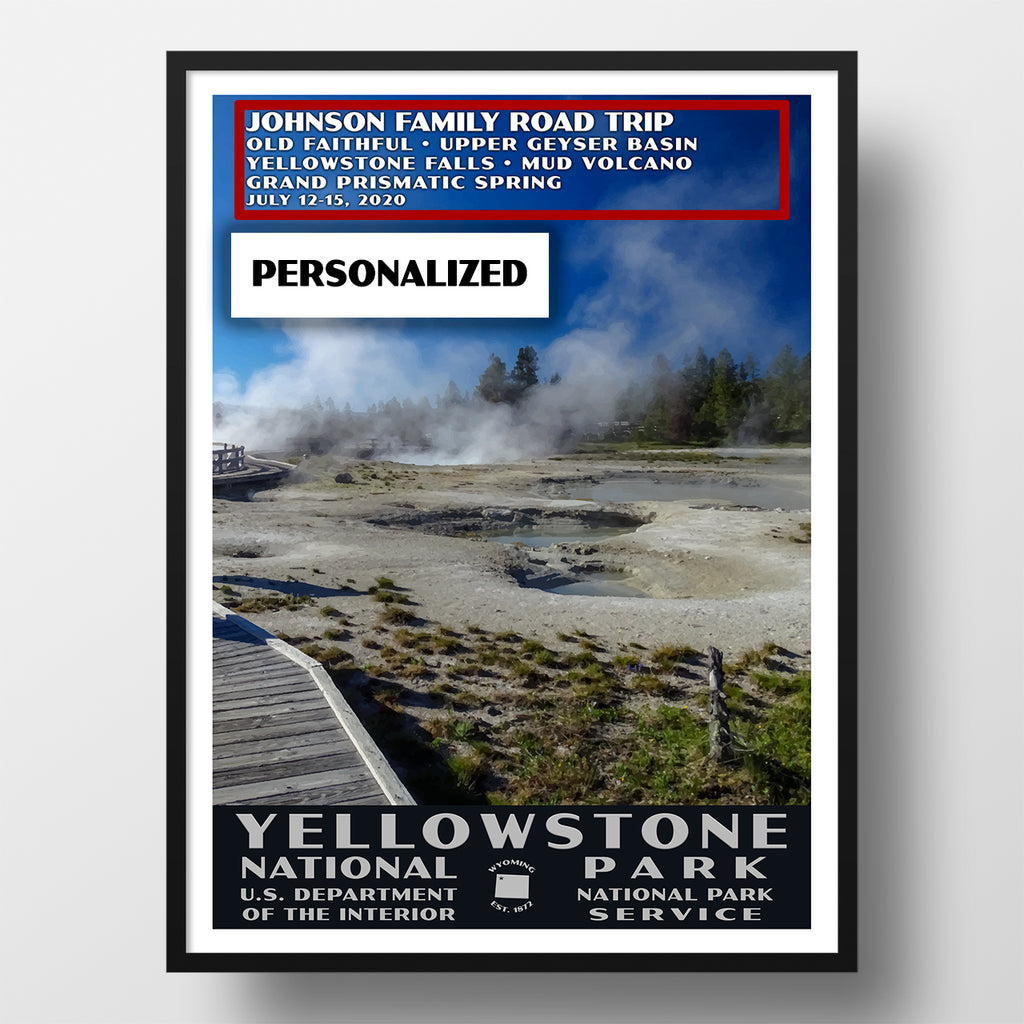 Yellowstone National Park Poster, personalized