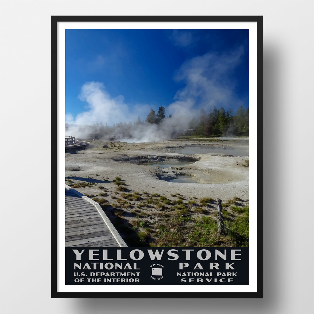 Yellowstone National Park Poster, West Thumb Geyser Basin (WPA Style)
