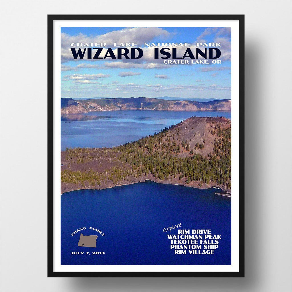 Crater Lake National Park Poster-Wizard Island (Personalized)