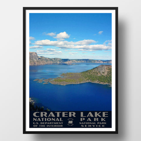 Crater Lake National Park Poster, WPA Style, Wizard Island