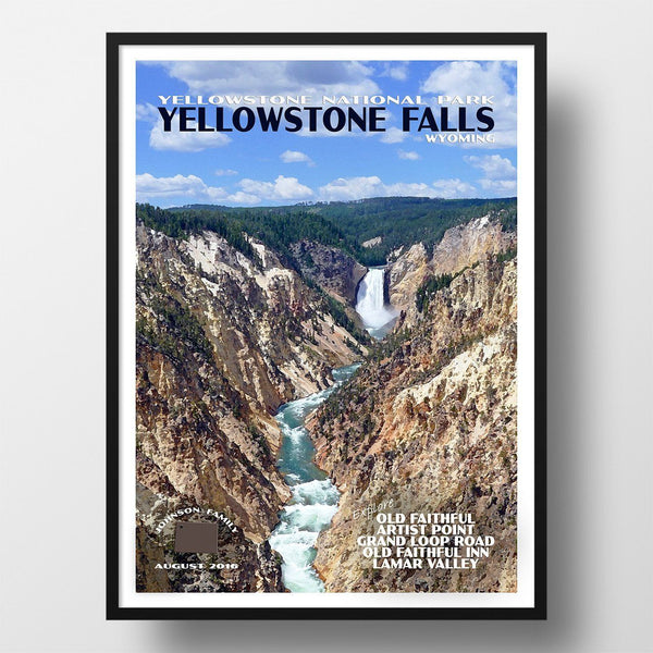 Yellowstone National Park Poster-Yellowstone Falls (Personalized)