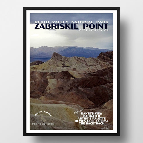 Death Valley National Park Poster-Zabriskie Point (Personalized)