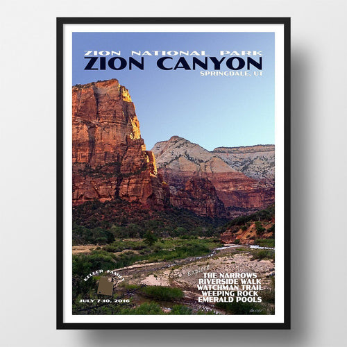 Zion National Park Poster-Zion Canyon (Personalized)