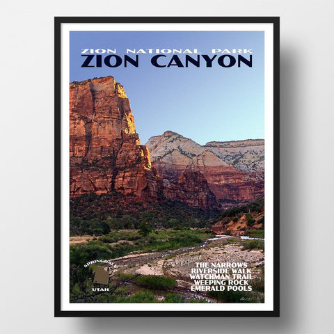 Zion National Park Poster-Zion Canyon