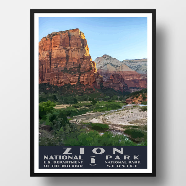 Zion National Park poster wpa style zion canyon